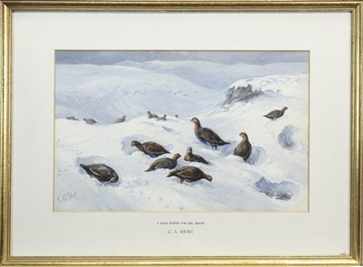 Lot 414-A HARD WINTER FOR THE GROUSE, A WATERCOLOUR BY GEORGE ANDERSON SHORT