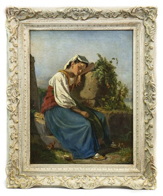 Lot 416-RESTING, A CONTINENTAL SCHOOL OIL PAINTING
