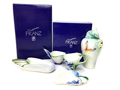 Lot 1249-A LOT OF TWO FRANZ CUP AND SAUCERS, TRAY AND GINGER JAR