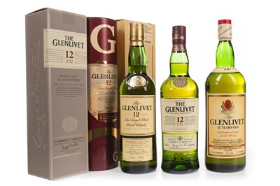 Lot 312-TWO BOTTLES AND ONE LITRE OF GLENLIVET AGED 12 YEARS