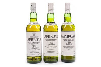 Lot 317-THREE BOTTLES OF LAPHROAIG 10 YEARS OLD