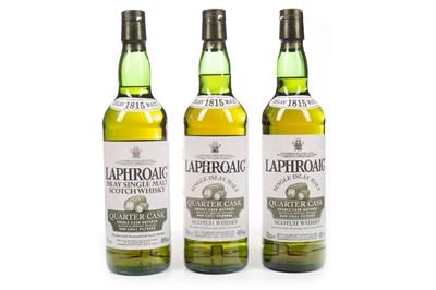 Lot 319-THREE BOTTLES OF LAPHROAIG QUARTER CASK