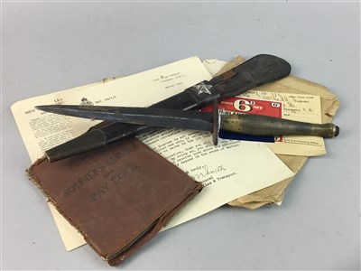 Lot 51-A WWII DAGGER ALONG WITH SOLDIER'S PAPERS