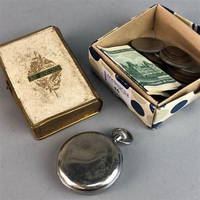 Lot 46-A POCKET WATCH, COINS AND BANKNOTES
