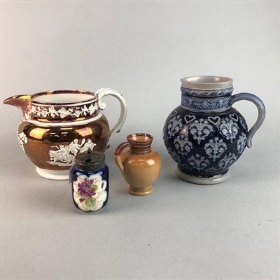 Lot 41-A LUSTRE JUG, TEAPOT AND OTHER JUGS