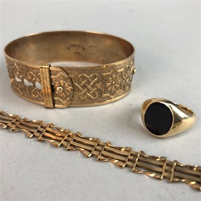 Lot 1-A SIGNET RING, BRACELET AND BANGLE
