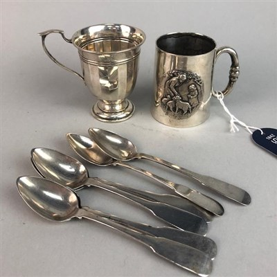 Lot 3-AN EDWARDIAN SILVER CHRISTENING MUG, ANOTHER AND SILVER SPOONS