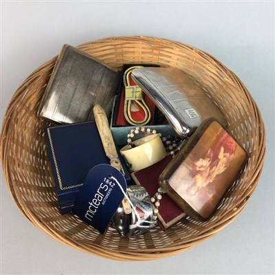 Lot 7-A LOT OF CIGARETTE CASES, NAPKIN RINGS AND JEWELLERY
