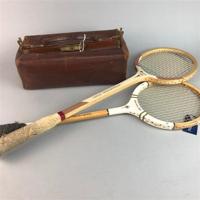 Lot 8-TWO VINTAGE BADMINTON RACKETS AND A GLADSTONE BAG