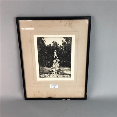 Lot 22-PETER PAN'S STATUE, AN ETCHING BY EDGAR JAMES MAYBERY