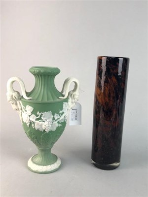 Lot 23-A GLASS DECANTER AND GLASSES, A GREEN JASPERWARE VASE AND STUDIO GLASS