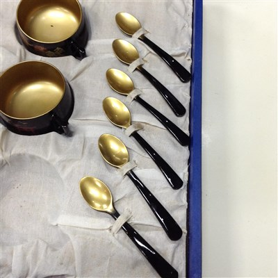 Lot 25-A MID 20TH CENTURY LACQUERED WOOD COFFEE SET