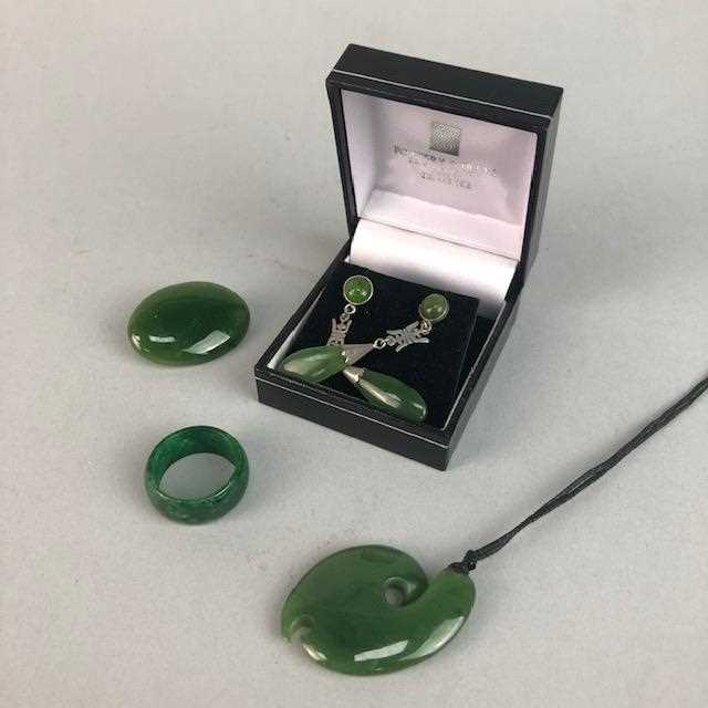 Lot 20-A JADEITE RING, BROOCH, PENDANT AND EARRINGS