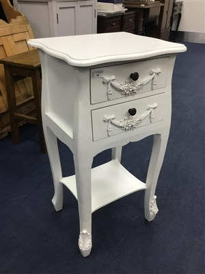 Lot 36-A 20TH CENTURY CREAM BEDSIDE TABLE