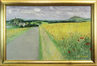 Lot 588-RURAL SCENE, AN OIL BY GEOFF SQUIRE