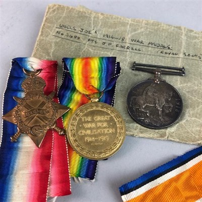 Lot 15-A WWI MEDAL GROUP AWARDED O PTE. J. P. FARRELL