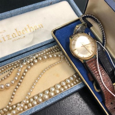 Lot 35-A GENTLEMAN'S CAMY WRIST WATCH ALONG WITH OTHER WATCHES AND PEARLS