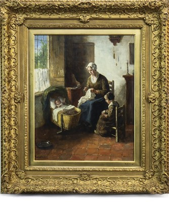 Lot 415-INTERIOR GENRE SCENE, AN OIL BY BERNARD DE HOOG