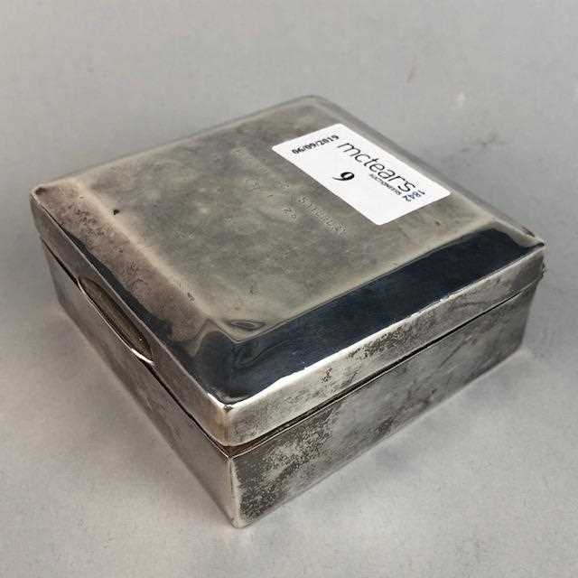 Lot 9-A SILVER SQUARE CIGARETTE BOX