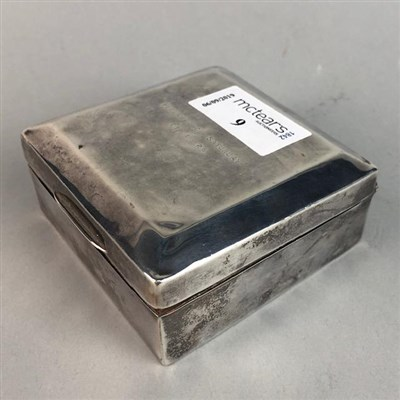 Lot 9-A SILVER SQUARE CIGARETTE BOX