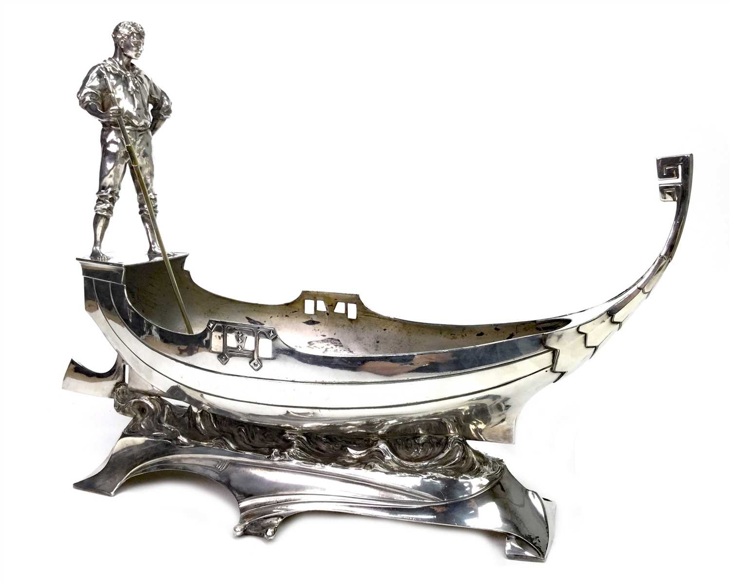 Lot 862 - AN ATTRACTIVE WMF COMPORT MODELLED AS A GONDOLA WITH GONDOLIER
