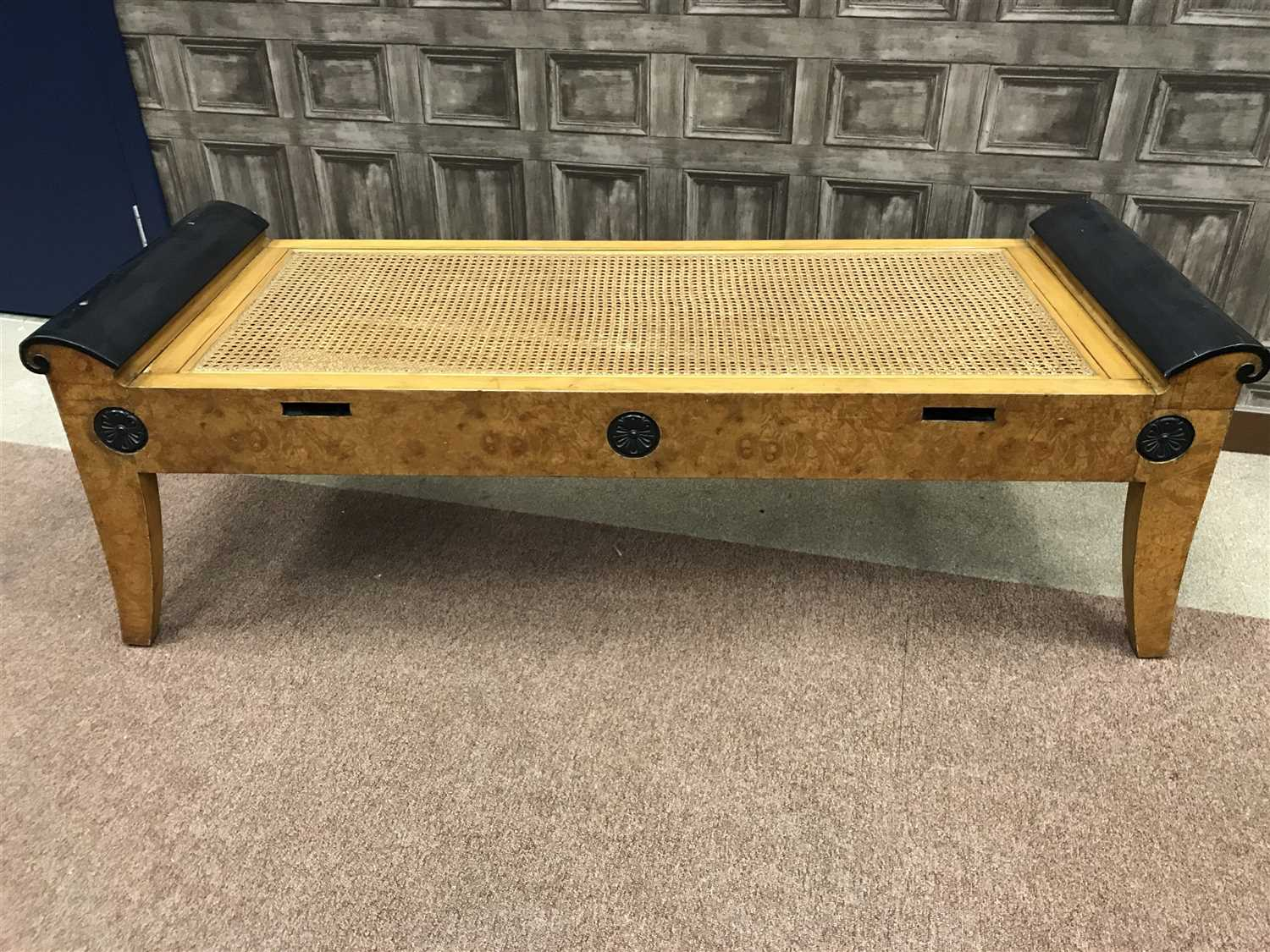 Lot 1535-AN AMERICAN BURR MAPLE AND EBONISED WINDOW SEAT