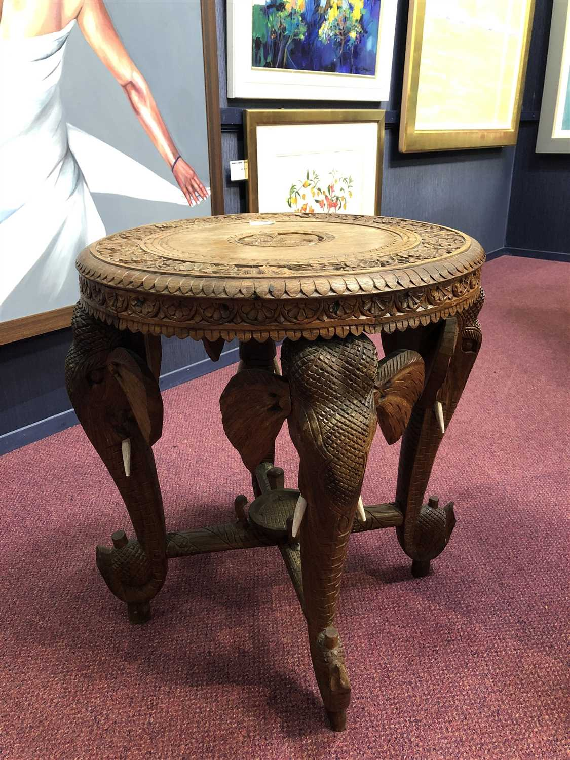 Lot 1004-A MID-20TH CENTURY INDIAN CARVED ELEPHANT OCCASIONAL TABLE