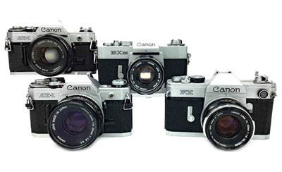 Lot 1489-A LOT OF TWO CANON AE-1 SLR CAMERAS AND TWO OTHER CANONS