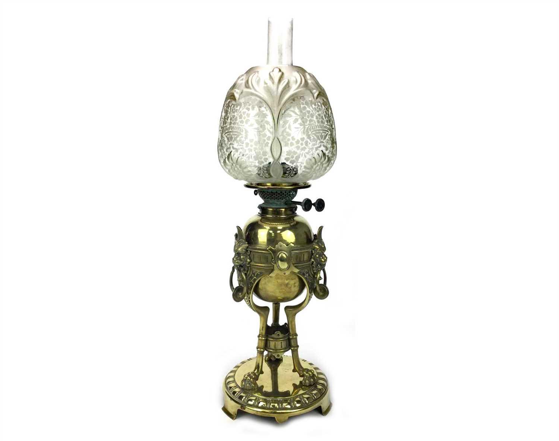 Lot 1545-A VICTORIAN BRASS OIL LAMP