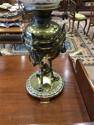 Lot 1546-A VICTORIAN BRASS OIL LAMP