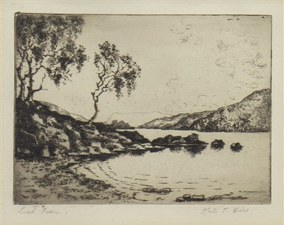 Lot 433-LOCH EARN, AN ETCHING BY KATE T HILL