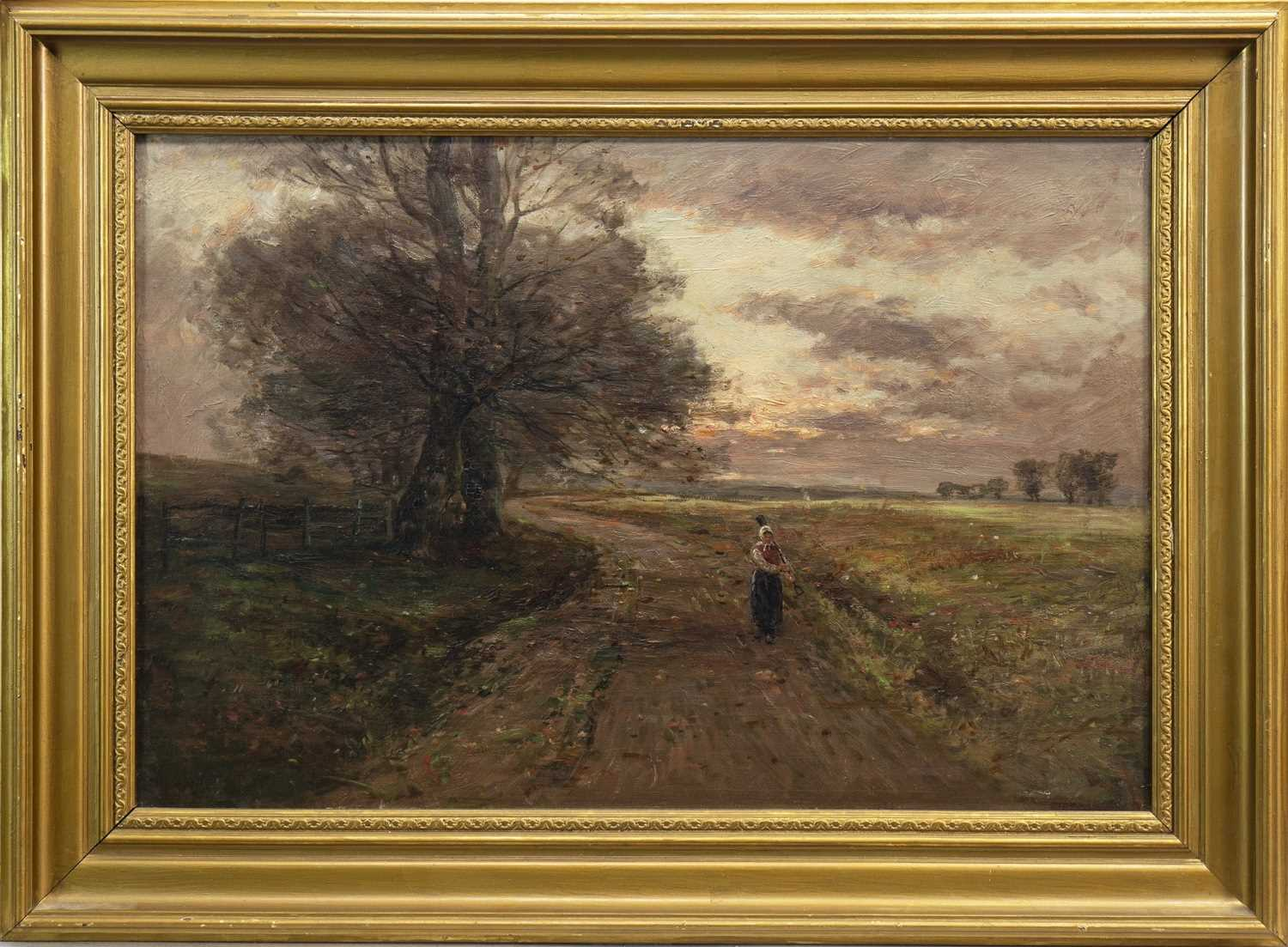 Lot 419-FIGURE ON A COUNTRY PATH, AN OIL BY JOHN HAMILTON GLASS