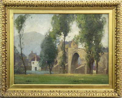 Lot 422-OLD FORTH BRIDGE AND CUSTOMS HOUSE, STIRLING, AN OIL BY JOHN MUIRHEAD
