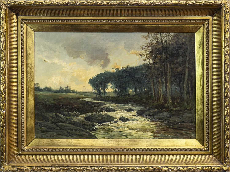Lot 424-HIGHLAND RIVER SCENE, AN OIL BY JOHN HAMILTON GLASS