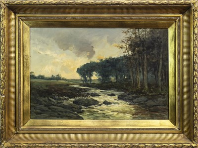 Lot 424-HIGHLAND RIVER SCENE, AN OIL BY JOHN HAMILTON GLASS