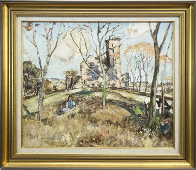 Lot 425-CASTLE RUIN WITH FIGURE, A MIXED MEDIA BY JAMES KAY