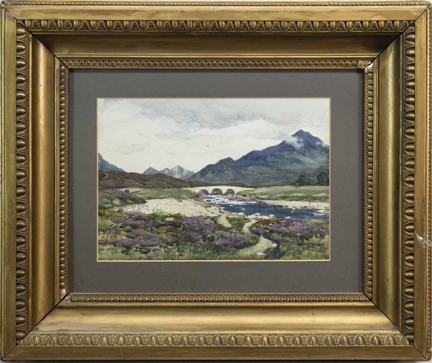 Lot 428-THE CUILLINS, SKYE, A WATERCOLOUR BY ROBERT HOUSON