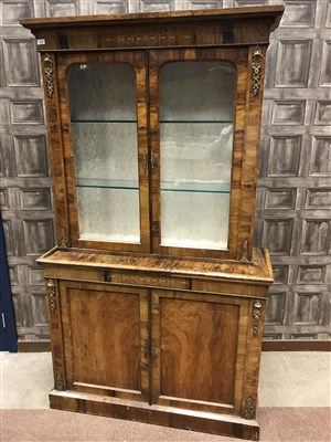 Lot 1550-A LATE 19TH CENTURY WALNUT CABINET BOOKCASE