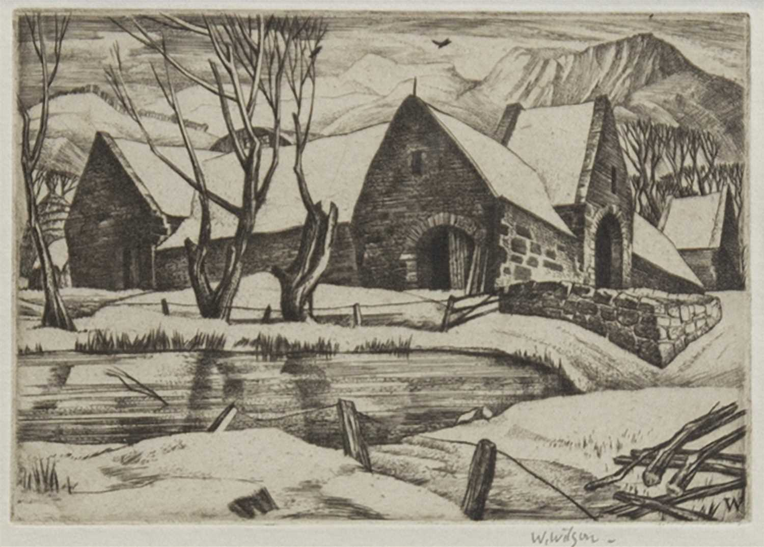 Lot 437-SWANSTON FARM, AN ETCHING BY WILLIAM WILSON
