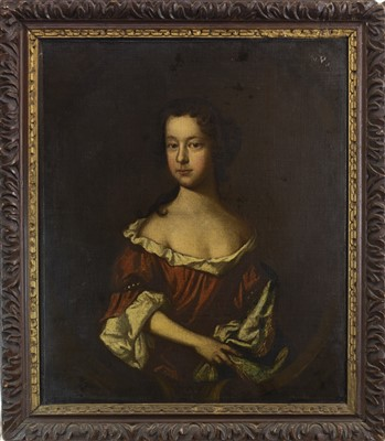 Lot 447-PORTRAIT OF A YOUNG LADY, AN OIL IN THE CIRCLE OF PETER LELY
