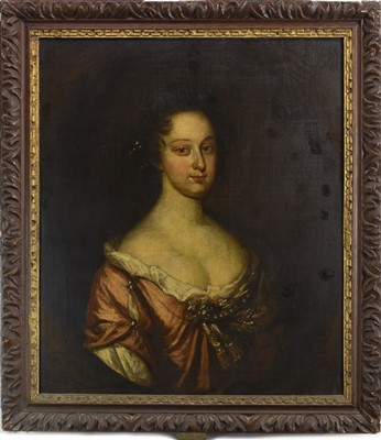 Lot 446-PORTRAIT OF A YOUNG LADY, AN OIL