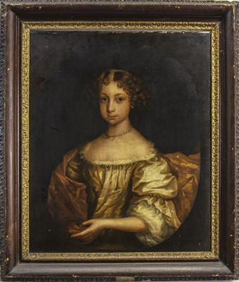 Lot 451-PORTRAIT OF A LADY, AN OIL