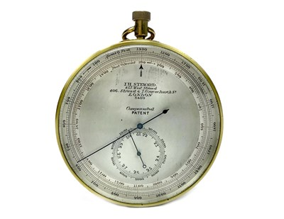Lot 1443-A BRASS CASED ANEROID ALTIMETER BY J. H. STEWARD
