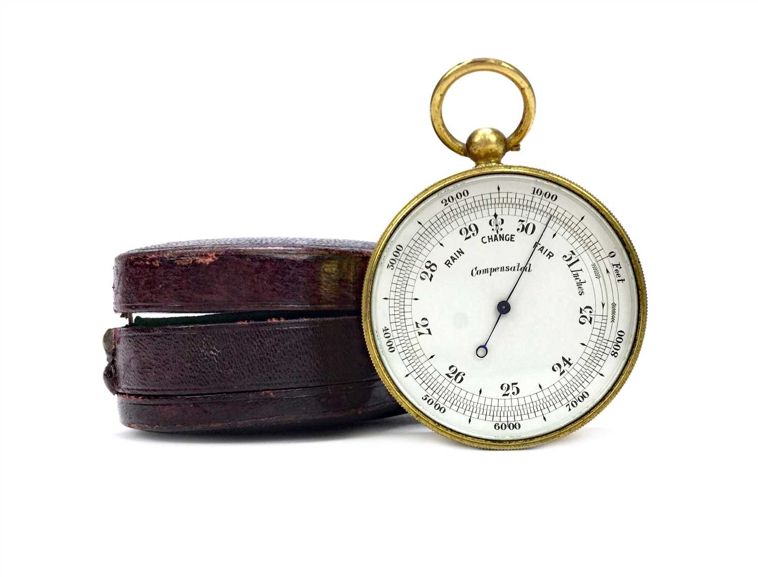 Lot 1446-AN ENGLISH POCKET BAROMETER WITH COMPASS