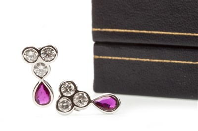 Lot 2-A PAIR OF RUBY AND DIAMOND EARRINGS