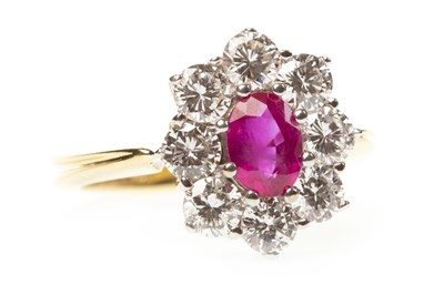 Lot 4-A RUBY AND DIAMOND CLUSTER RING