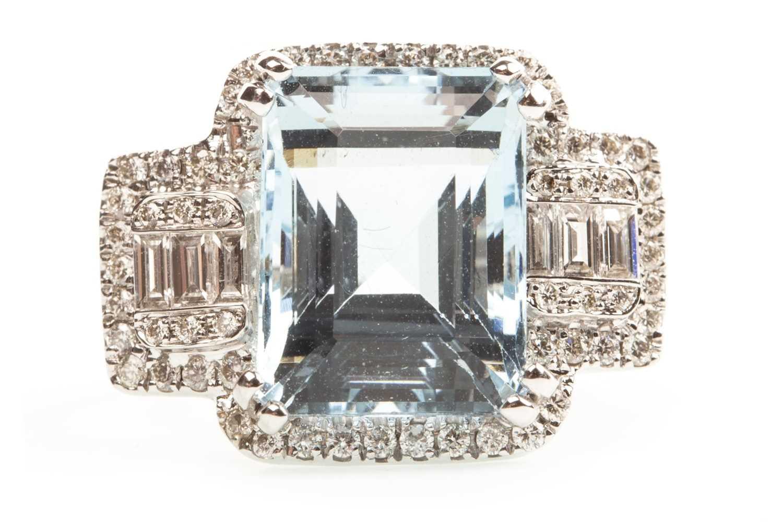 Lot 111-AN AQUAMARINE AND DIAMOND RING