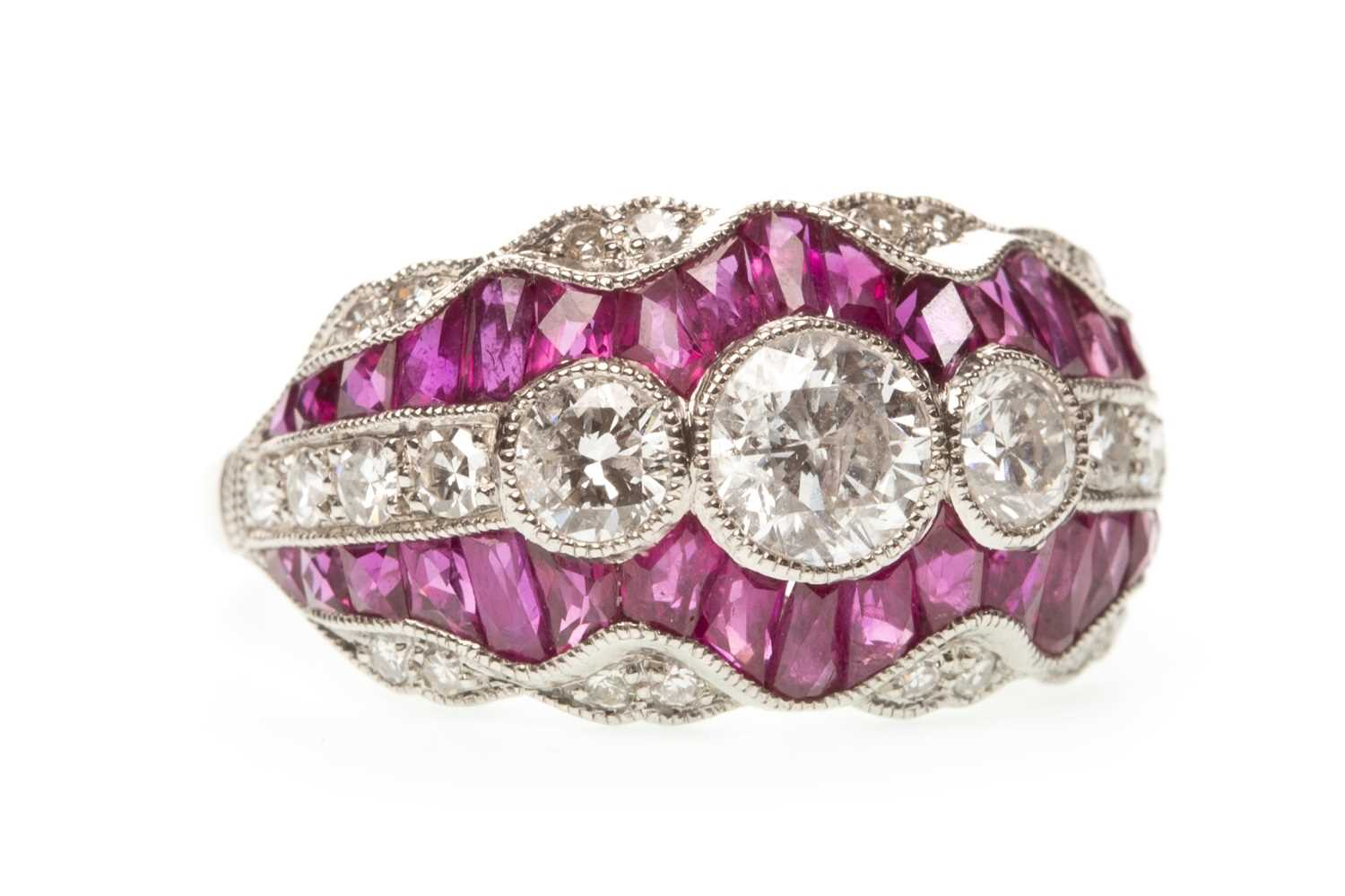 Lot 164-A RUBY AND DIAMOND RING