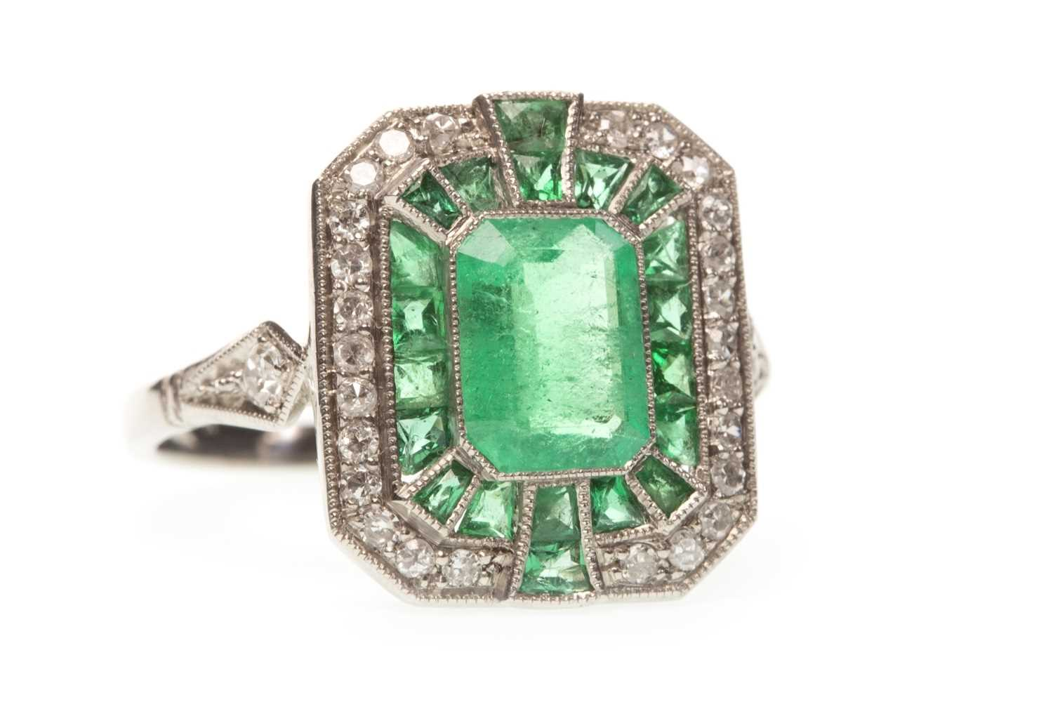 Lot 60-AN ART DECO STYLE EMERALD AND DIAMOND RING