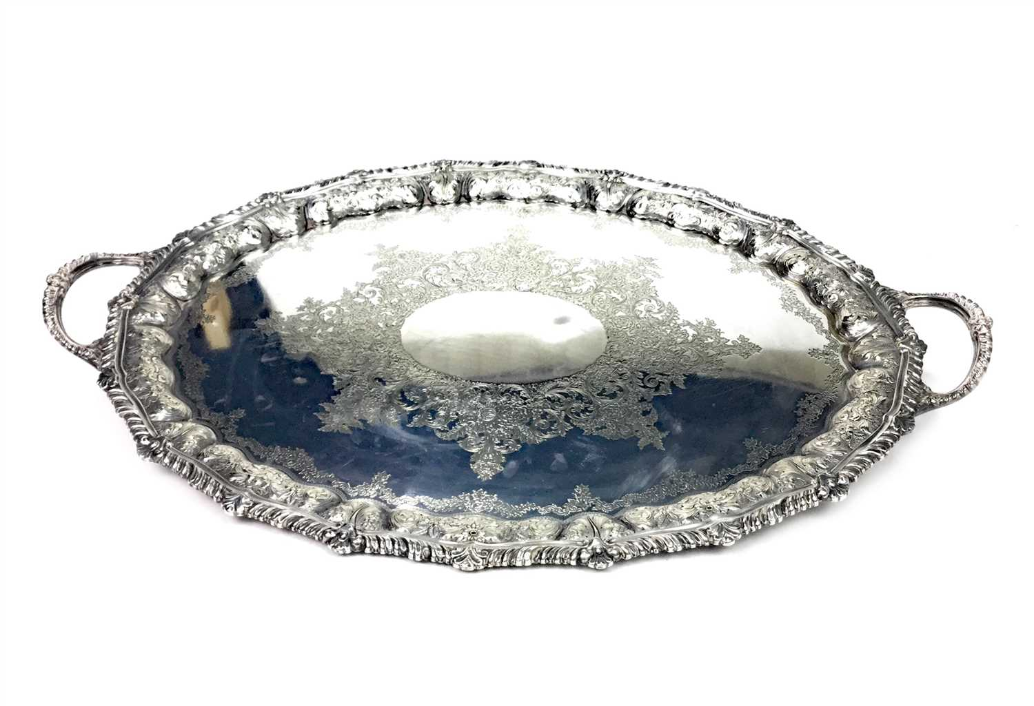 Lot 865 - A VICTORIAN SILVER PLATED DOUBLE HANDLED TRAY